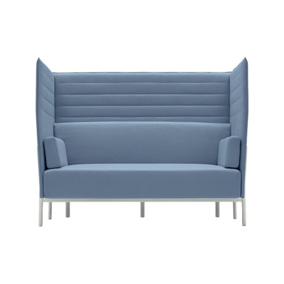 Eleven High Back 863 2 Seater Kvadrat Steelcut Trio - ST24, Polished Aluminium - AB