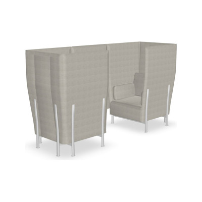 Eleven High Back Privacy 866 Sofa Kvadrat Steelcut Trio - ST24, Polished Aluminium - AB