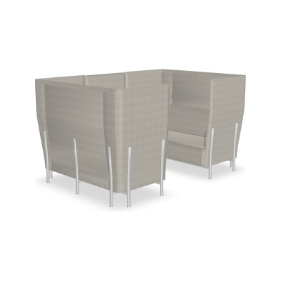 Eleven High Back Privacy 867 Sofa Kvadrat Steelcut Trio - ST24, Polished Aluminium - AB