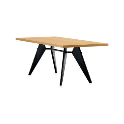 EM Wood Table 74 x 90 x 260 cm, solid oak smoked oiled, 12 deep black powder-coated (smooth)