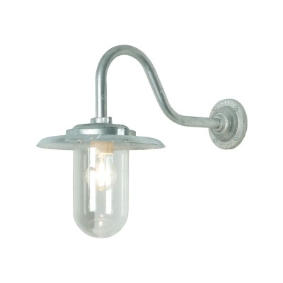 Exterior Bracket Light, 100W, Swan Neck 7677 Galvanised Silver, Clear Glass