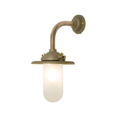 Exterior Bracket Light, Right Angle, Round 7685 Gunmetal, Frosted Glass