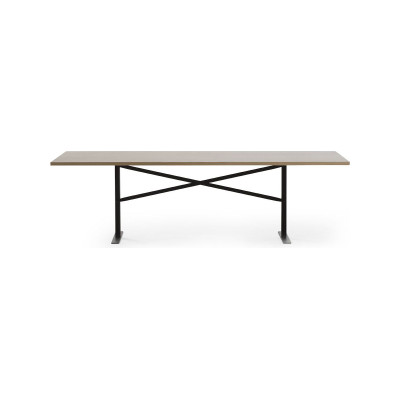 Ferric Dining Table Black Stained Oak, Stone Grey - RAL 7030, 250cm