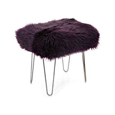 Ffion Sheepskin Footstool  Aubergine