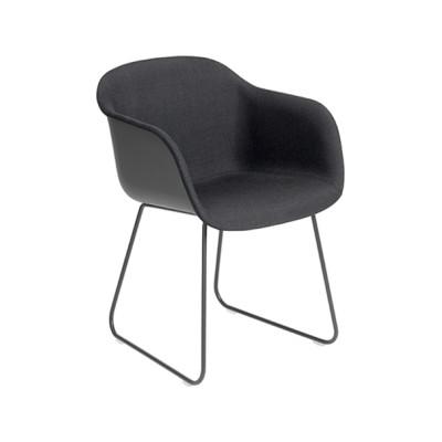 Fiber Armchair Front Upholstery - Sled Base Black / Black, Wooly koks 1002