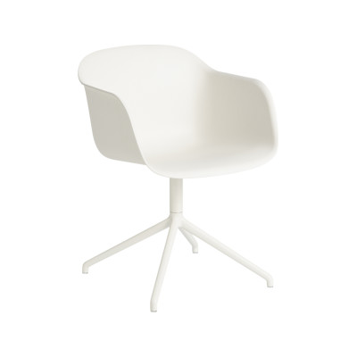 Fiber Armchair Swivel Base Without Return Natural White/White