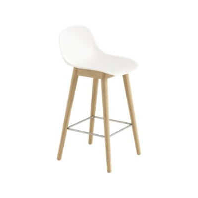Fiber Bar Stool With Backrest Wood Base Natural White/Oak, 65