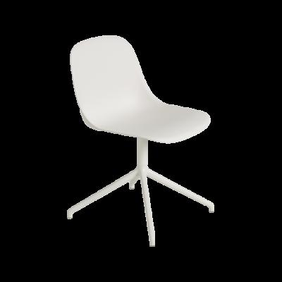 Fiber Side Swivel Base Chair With Return - Non Upholstered Natural White/White