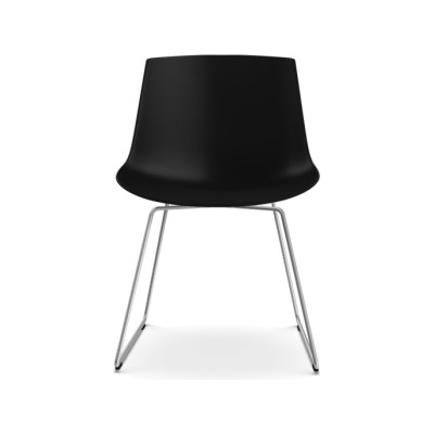 Flow Dining Chair, Sled Base - Set of 2 Black Shell  & Chrome Plated Frame