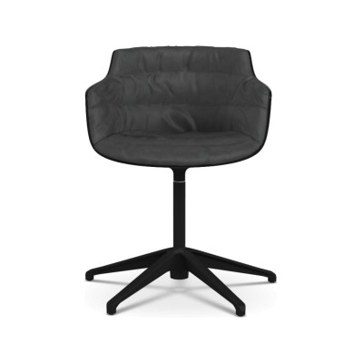 Flow Slim Chair, Fixed Star Base, Padded Pelle_albicocca_R801, Black
