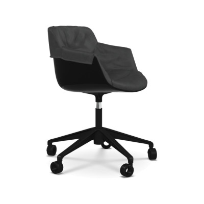 Flow Slim Chair Adjustable Height, 5-Point-Star Base Padded XL Pelle_albicocca_R801, Black