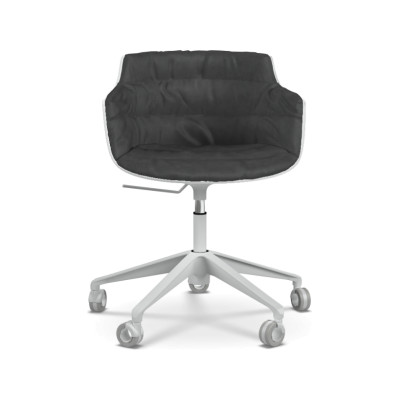 Flow Slim Chair, Adjustable Height, Star Base with Castors, Padded Pelle_albicocca_R801, Black