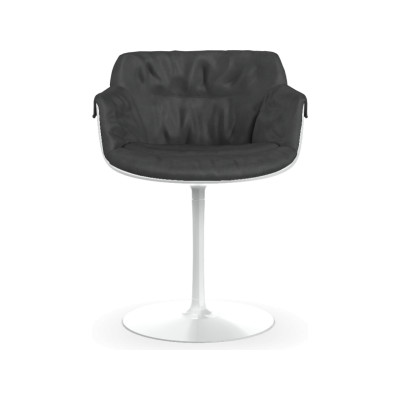 Flow Slim Chair Base, Central Leg, Padded XL Pelle_albicocca_R801, Black