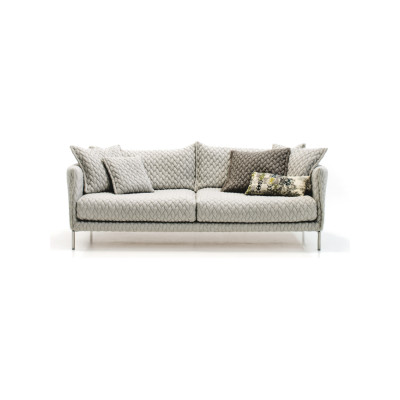 Gentry 2-Seater Sofa 180 x 90, A7320 - Units 1 Merlino beige, Steel Chrome
