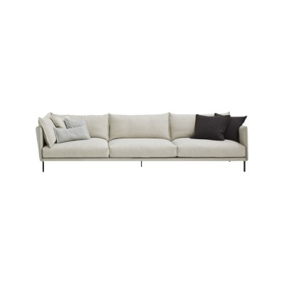 Gentry 3-Seater Sofa 300 x 105, A7320 - Units 1 Merlino beige, Black chrome