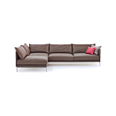 Gentry Corner Sofa Right, 285 x 330 x 76, A7577 - Units 2 Rami 3030 beige, Steel Chrome