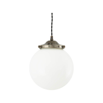 Gentry Opal Globe Pendant Light, 20cm Satin Chrome