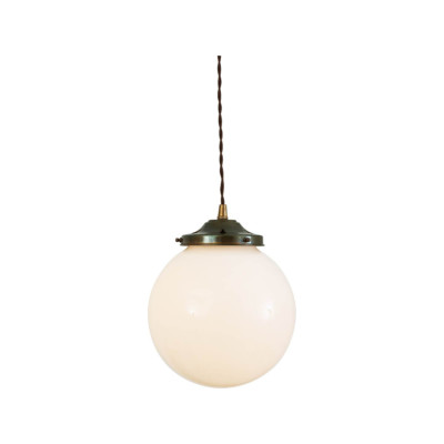Gentry Opal Globe Pendant Light, 20cm Antique Brass