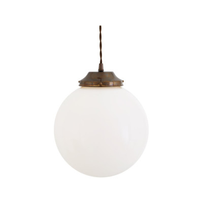 Gentry Opal Globe Pendant Light, 25cm Antique Brass