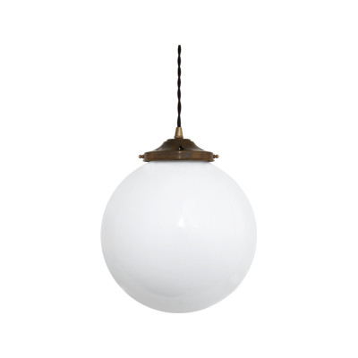 Gentry Opal Globe Pendant Light, 30cm Satin Brass