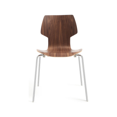 Gràcia Dining Chair Walnut Plywood, Chromed