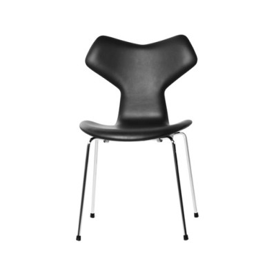 Grand Prix Fully Upholstered Stackable Chair White Leather White