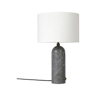 Gravity Table Lamp Small, White, Grey Marble