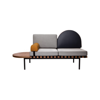 Grid Daybed Field 982 green , Leather, Leather, Walnut
