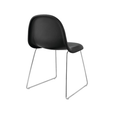 Gubi 3D Dining Chair Sledge Base - Fully Upholstered San 130, Gubi Metal Black, Yes