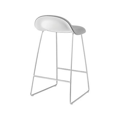 Gubi 3D Sledge Base Counter Stool - Front Upholstered Gubi Wood Oak, San 130, Gubi Metal Chrome