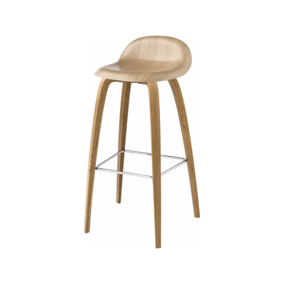 Gubi 3D Wood Base Bar Stool - Unupholstered Gubi Wood American Walnut, Gubi Wood American Walnut, Gubi Metal Chrome