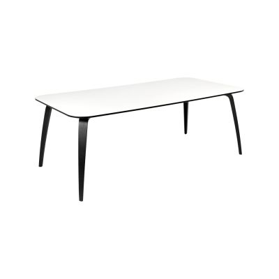 Gubi Dining Table - Rectangular White Laminate with Black Edges