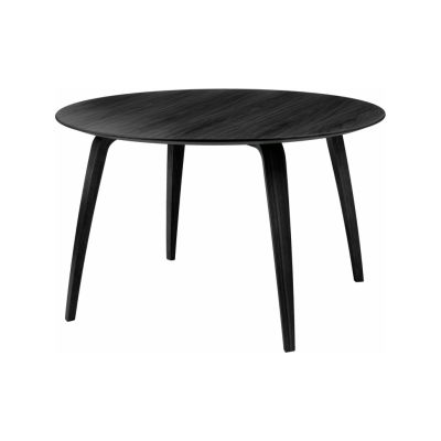 Gubi Round Dining Table Gubi White Laminate with Black Edges