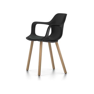 HAL Armchair Wood With Seat Pad 65 orange, 05 felt glides for hand floor, Base walnut black pigmented, Hopsak 71 yellow/pastel green