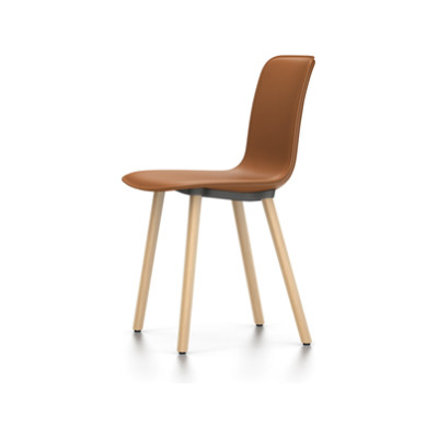 HAL Leather Wood Chair 04 glides for carpet, Leather Forte 65 cognac, Light oak solid wood with protective varnish