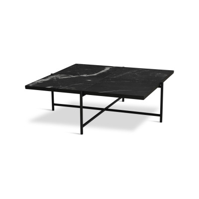 Handvärk Coffee Table 90 Black Marble, Black Base