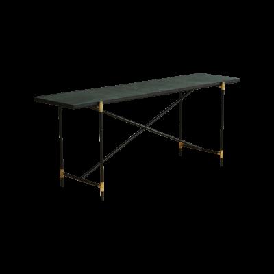 Handvärk Console Table, Brass Details Green Marble