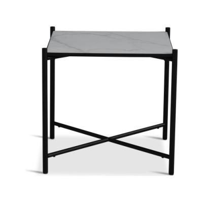 Handvärk Side Table Grey Marble, Black Base