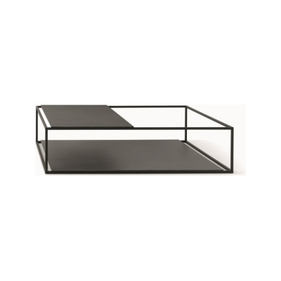 Helsinki 15 Coffee Table with Upper Partial Top B62 Matt White, Desalto Glass E02 Transparent