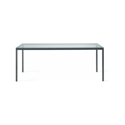 Helsinki 35 Home Dining Table with Glass Top B62 Matt White, Desalto Glass E02 Transparent, 90 x 90