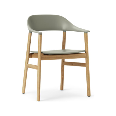 Herit Dining Chair with Armrests Dusty Green, Oak
