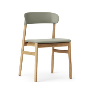 Herit Dining Chair with Upholstered Seat Spectrum Leather Dusty Green, Oak