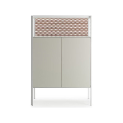 Heron Drawer High Unit, 2 Doors, Open Comparment Medium Grey  Structure & Transparent Glass Side Panel, Petrol Blue