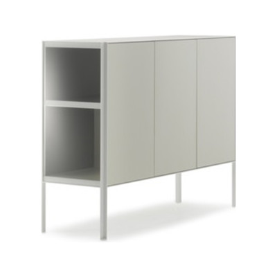 Heron Drawer Medium Unit, 3 Doors Medium Grey  Structure & Transparent Glass Side Panel, Petrol Blue