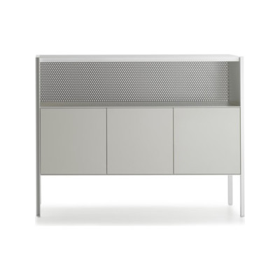 Heron Drawer Medium Unit, 3 Doors, Open Comparment Medium Grey  Structure & Transparent Glass Side Panel, Petrol Blue