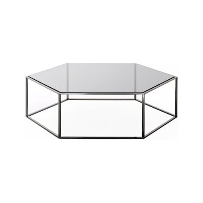 Hexagon 690 Coffee Table 25cm, A18 Matt Ossidiana, Desalto Glass E65 Europa Grey, 100