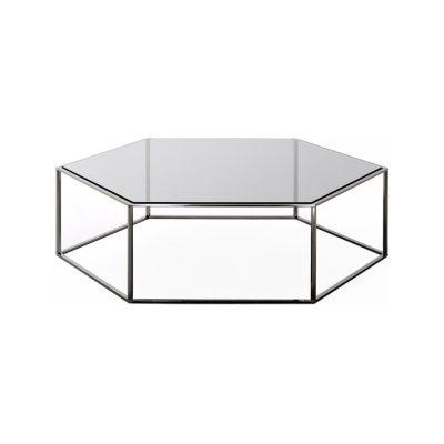 Hexagon 690 Coffee Table 25cm, A18 Matt Ossidiana, Desalto Glass E65 Europa Grey, 100