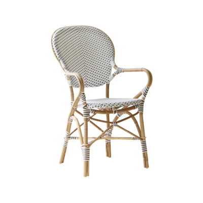 Isabell Arm Chair Set of 2 White with Cappucino Dot