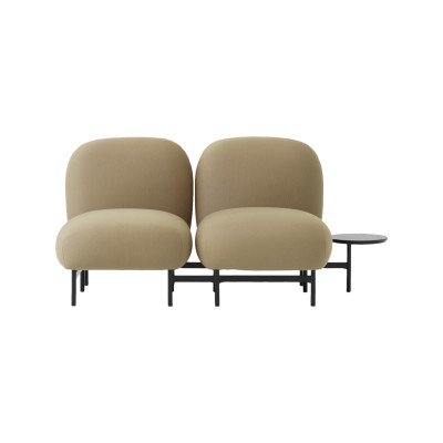 Isole Modular Seating System - 2 Seater Sofa with Round Table Uniform Grass