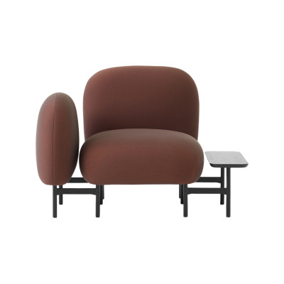 Isole Modular Seating System - One Seater Sofa with Armrest and Rectangular Table Uniform Grass